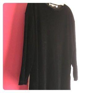 Black velvet long sleeved dress